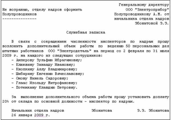 Акт на основании служебной записки